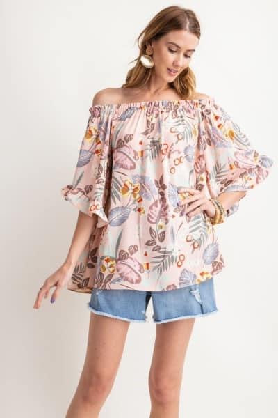 Printed Off The Shoulder Top: Light Pink