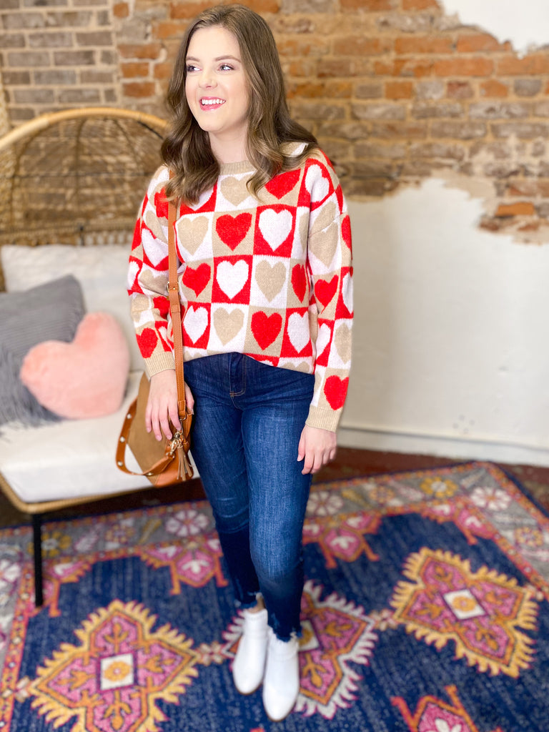 All The Love Color Block Heart Sweater