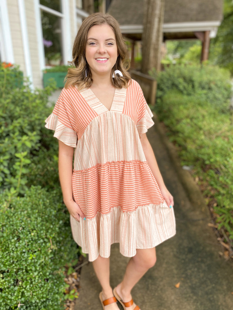 Mixed Stripe Linen Dress
