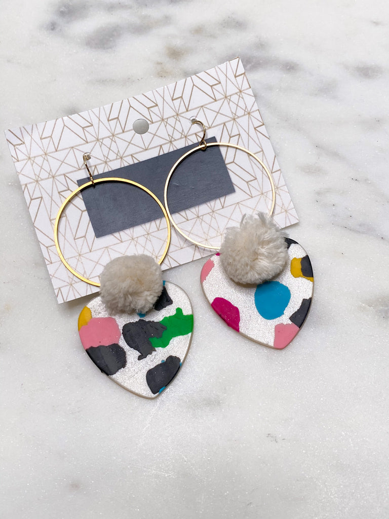 Chic'd Out Earrings: Pom Pom Heart