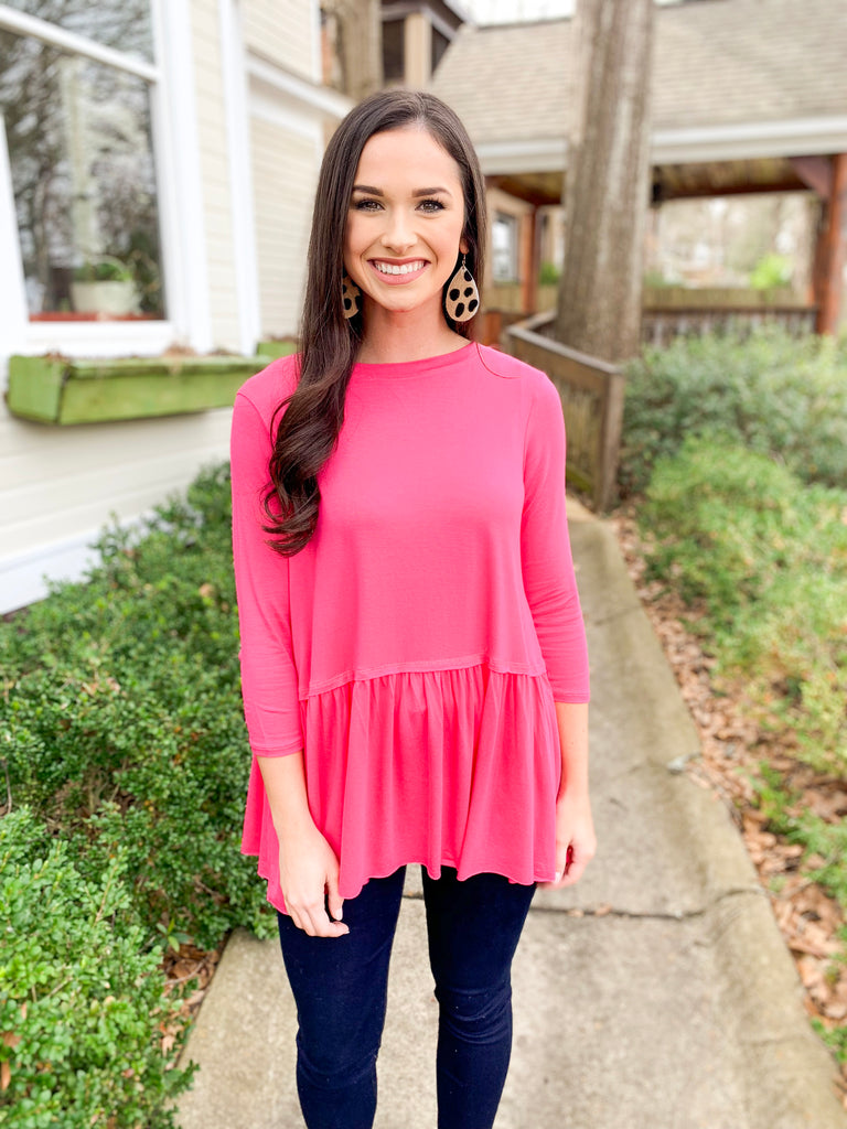 Peplum Bottom 3/4 Sleeve Top: Fuchsia