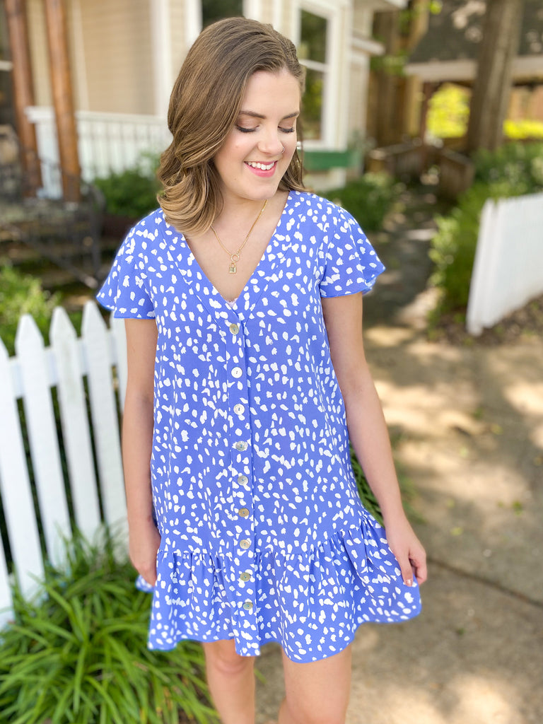 Spotted Button Front Dress