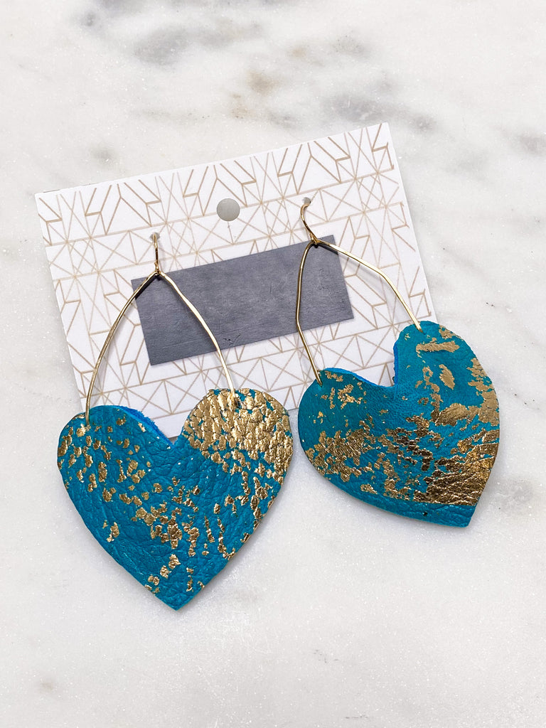 Chic'd Out Earrings: Teal Heart