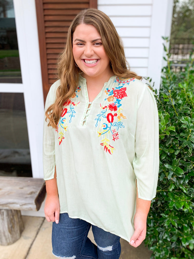 Peplum Tunic with Embroidery and Buttons: Dusty Mint