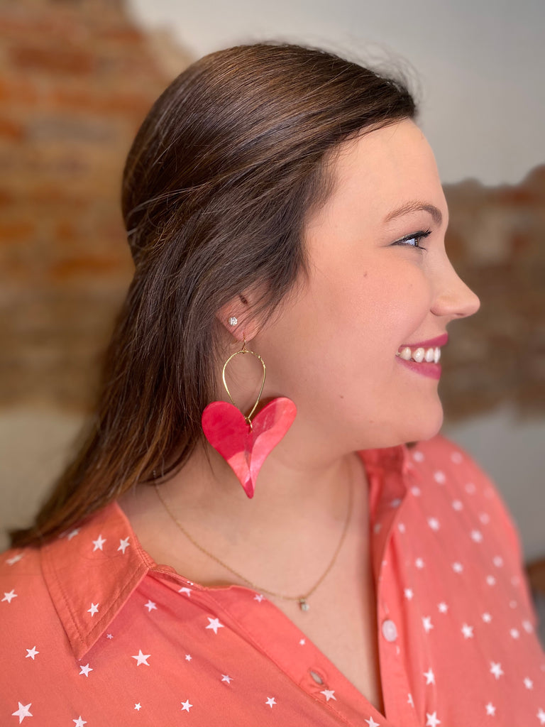 Chic'd Out Earrings: Red/Pink Heart