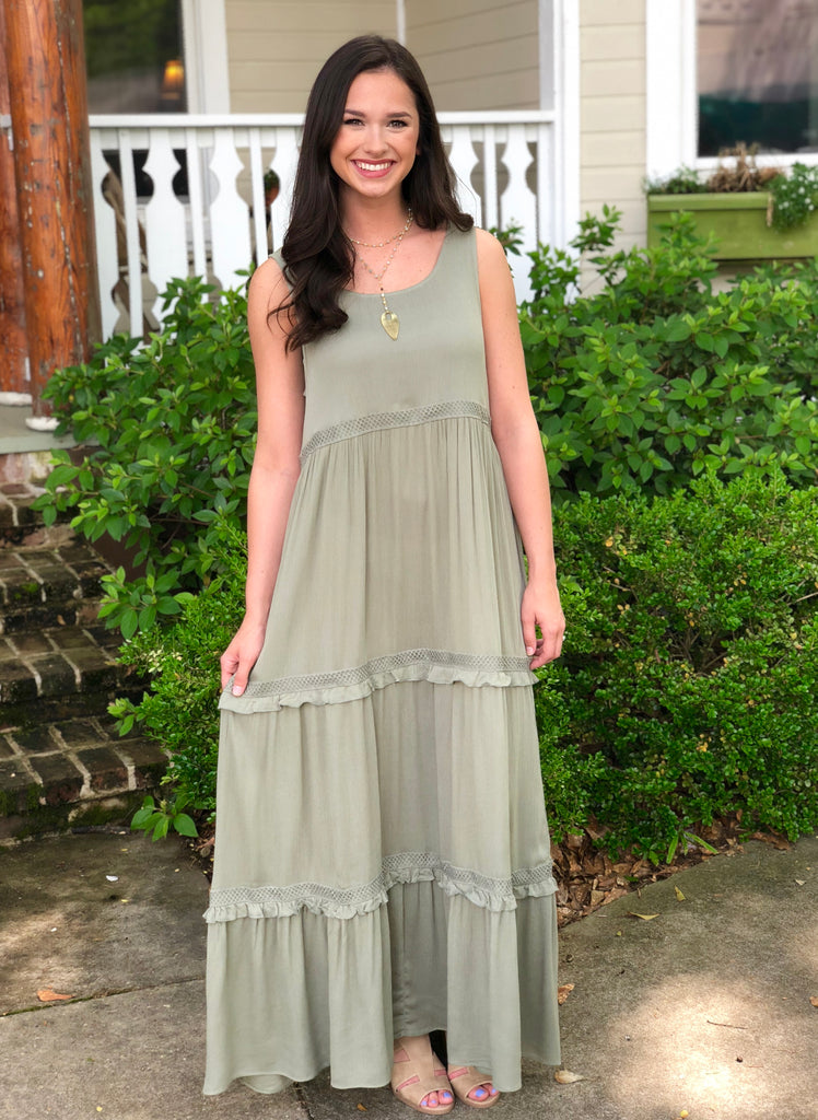 Sleeveless Tiered Maxi Dress: Olive