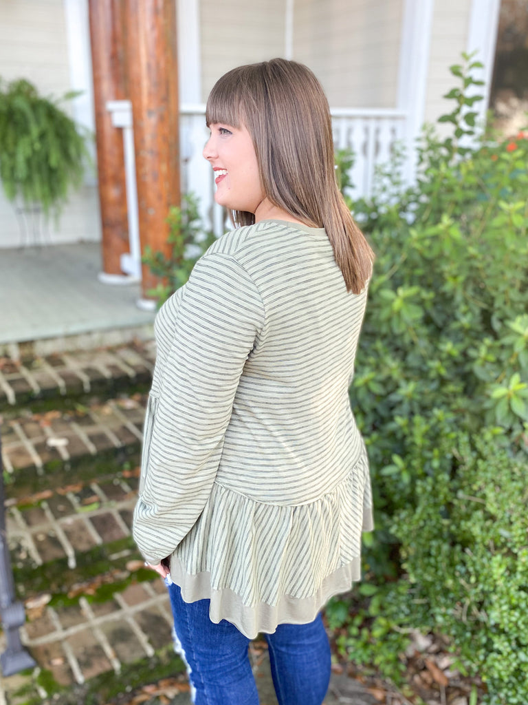 Olive Stripe Peplum Long Sleeve Top