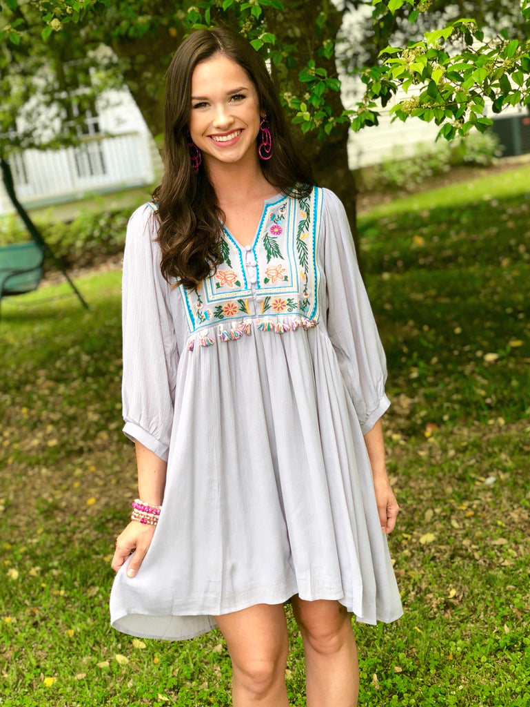 V-Neck Dress with Embroidered Yoke: Gray