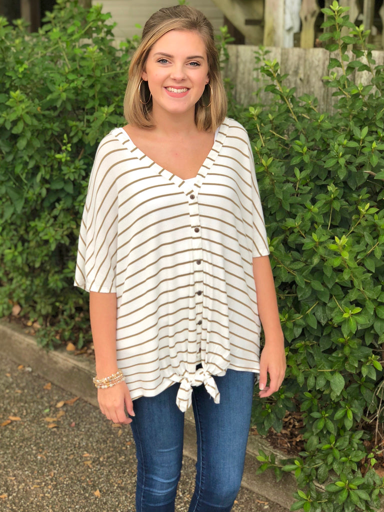 Striped Knotted Thermal Top: Faded Olive