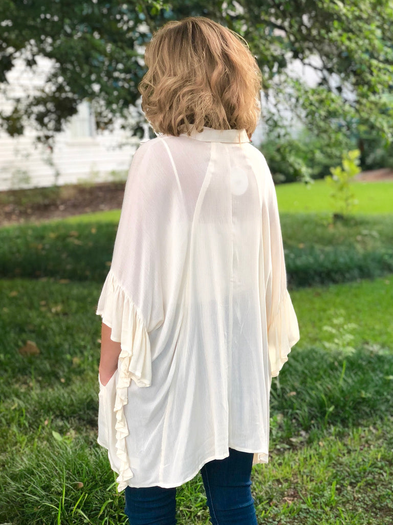 Ruffle Sleeve Button Up: Ivory