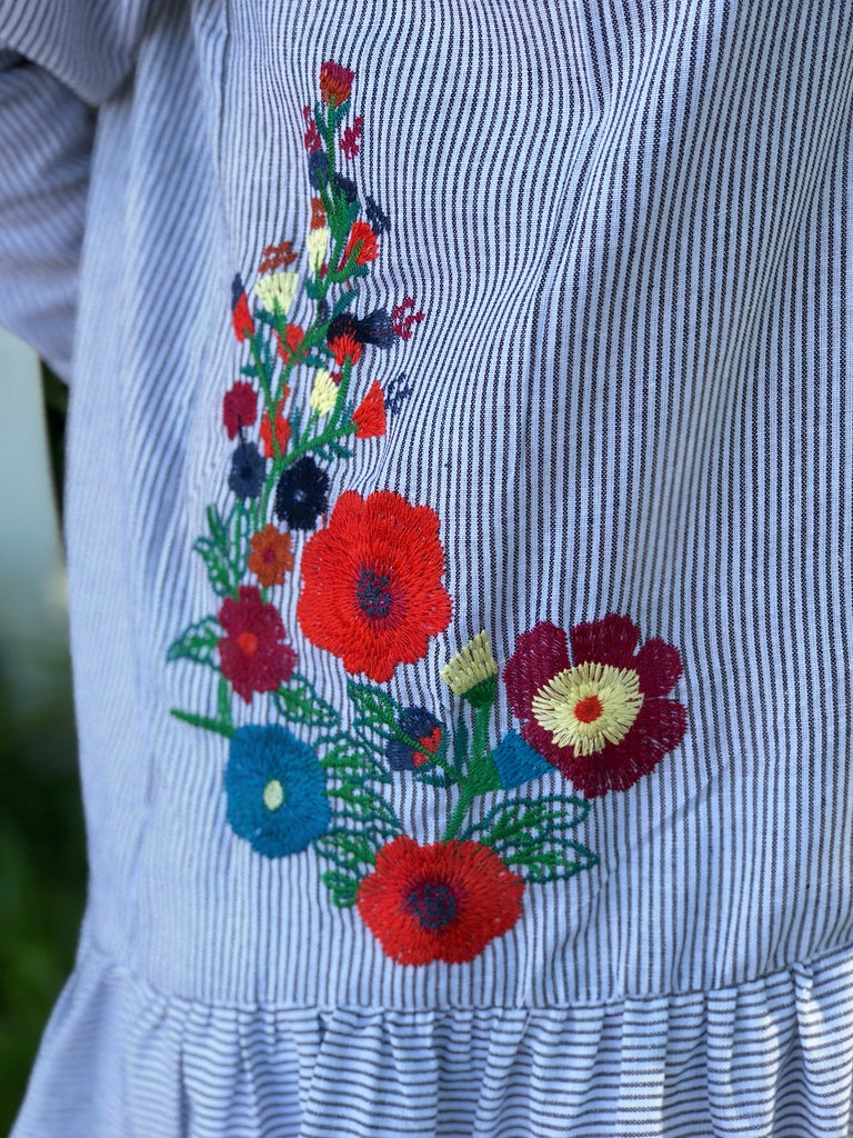 Ruffle Hem Blouse with Floral Embroidery