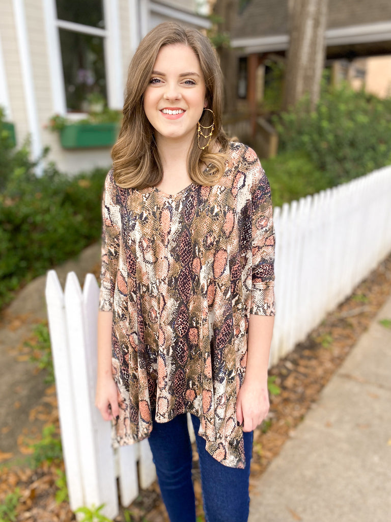 Peace Love Cake Harlow Tunic: Natural Snake