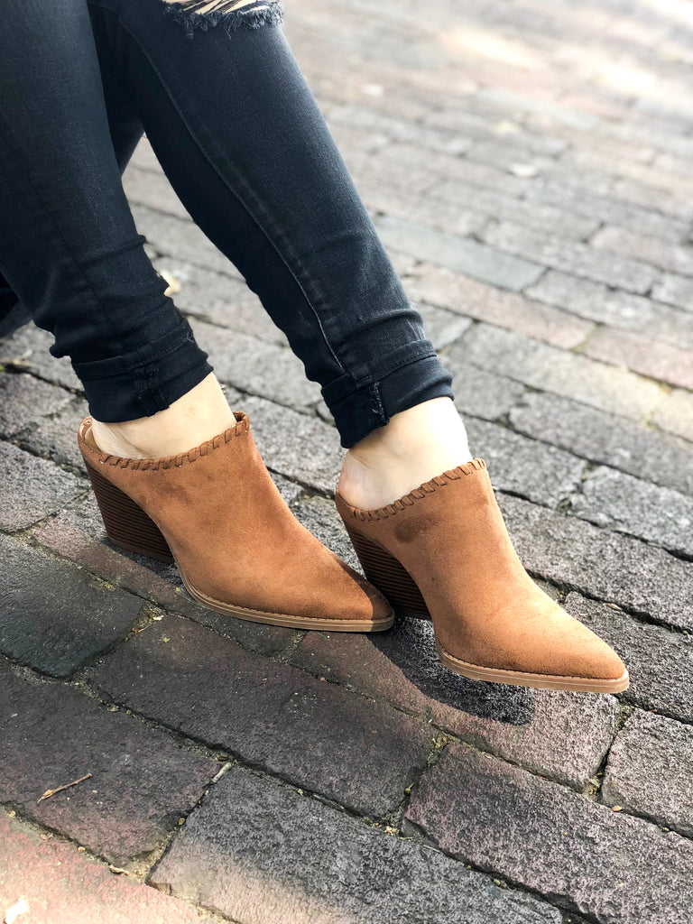 Zooey Backless Bootie:  Camel