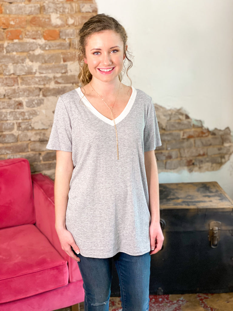 Pointelle V-Neck Knit Top: Heather Gray