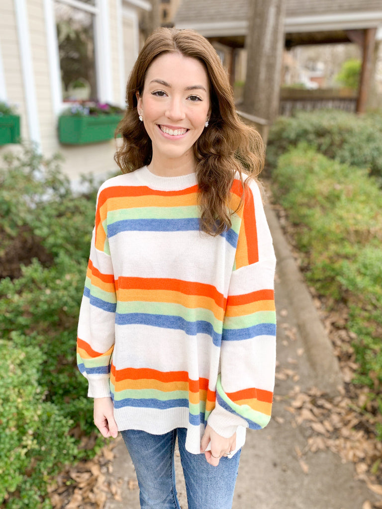 Round Neck Multicolor Stripe Sweater