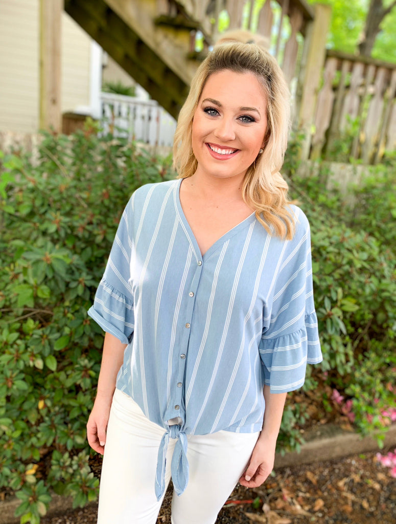 V-neck Button Front Top: Misty Blue