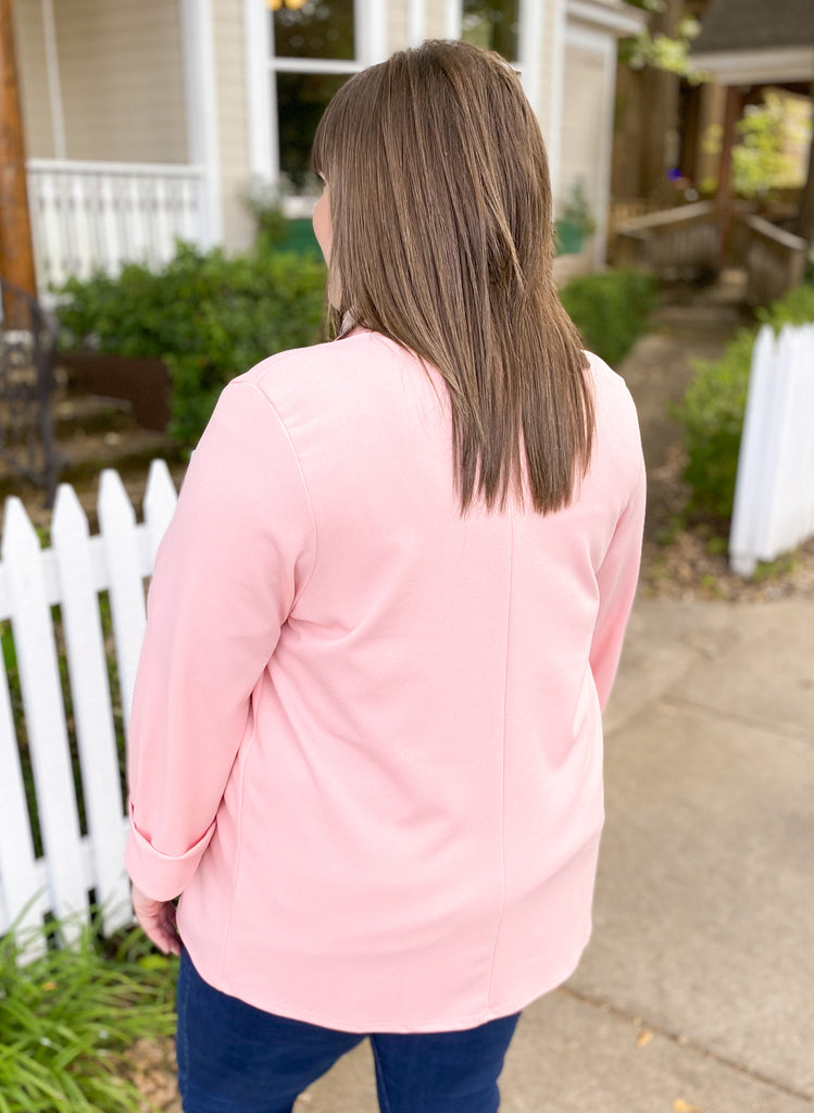 Solid Collarless Blazer: Blush