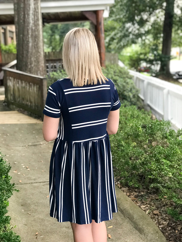 Round Neck Striped Dress: Navy