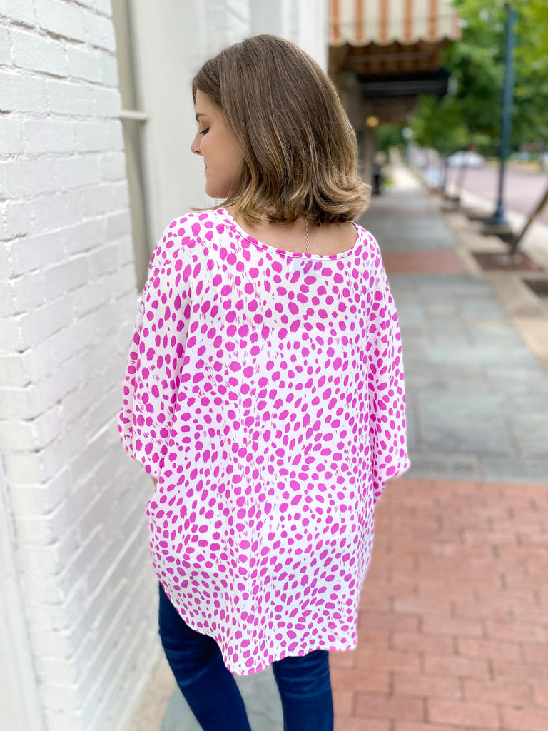Favorite Oversized Top: Fuchsia Dot