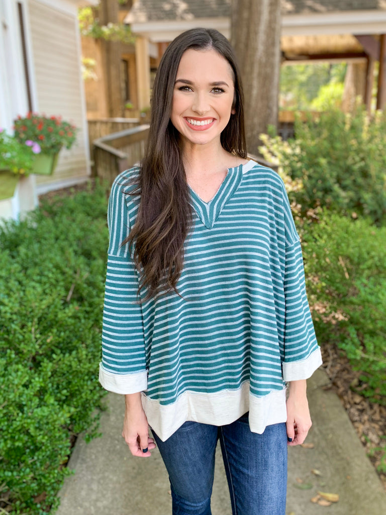 Striped V-neck Pullover with Contrast Bottom