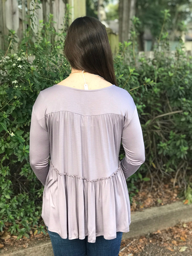 V-Neck Tiered Hem Top: Lavender