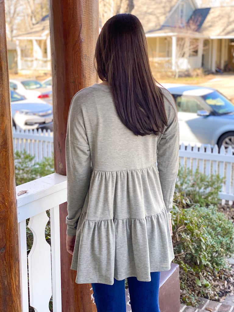 Tiered Knit Tunic: Sage