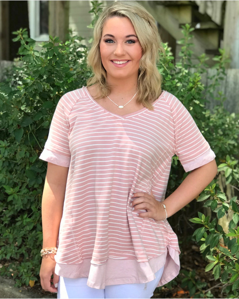 Striped V-Neck Top: Rose