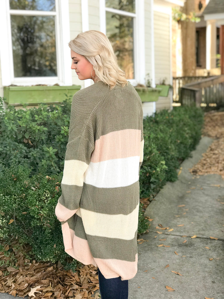 Striped Open Front Cardigan: Multi Olive