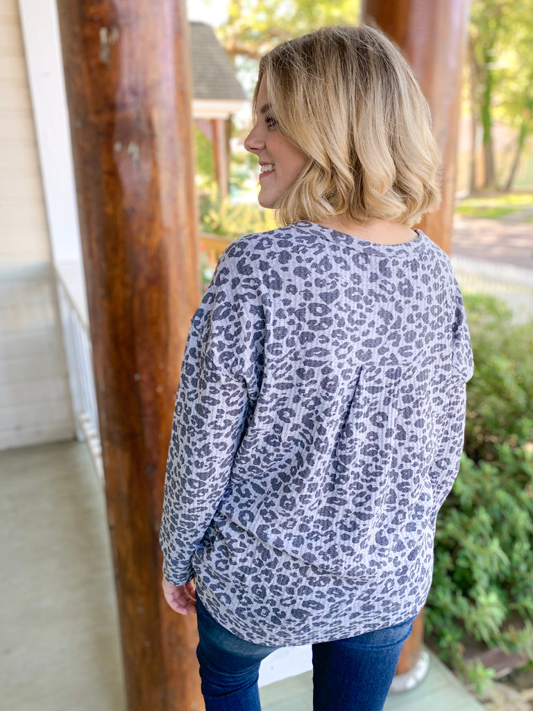 Z Supply Leopard Thermal Split Neck Top: Heather Grey