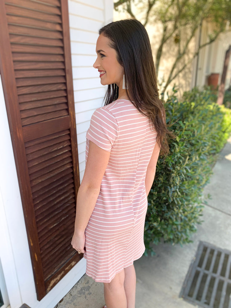 Short Sleeve Striped Ribbed Dress: Rose