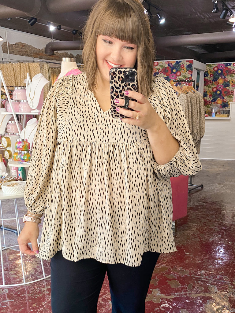 Geo Print Empire Waist Blouse