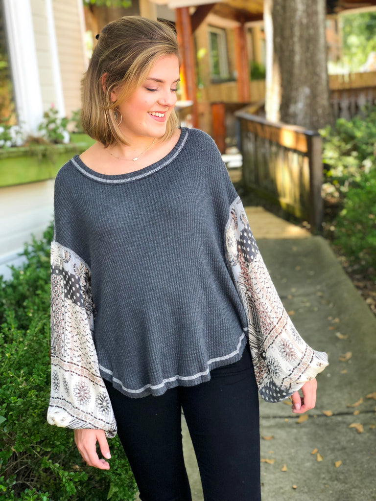 Thermal Top with Paisley Sleeves: Charcoal