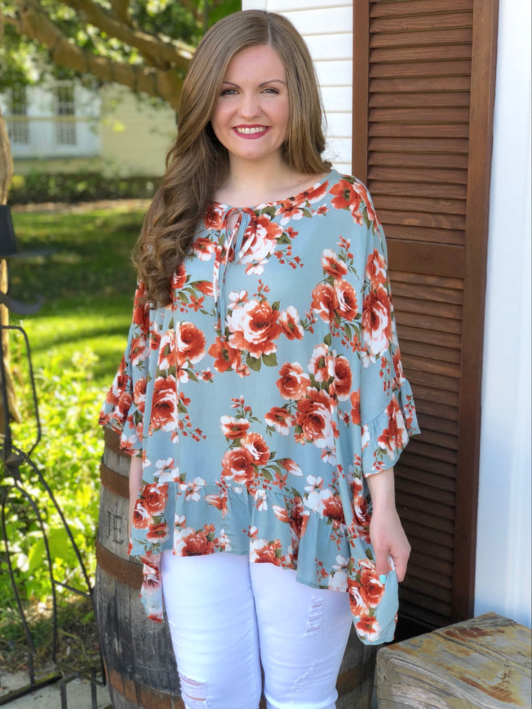 Oversized Floral Gauze Blouse: Coral/Grey