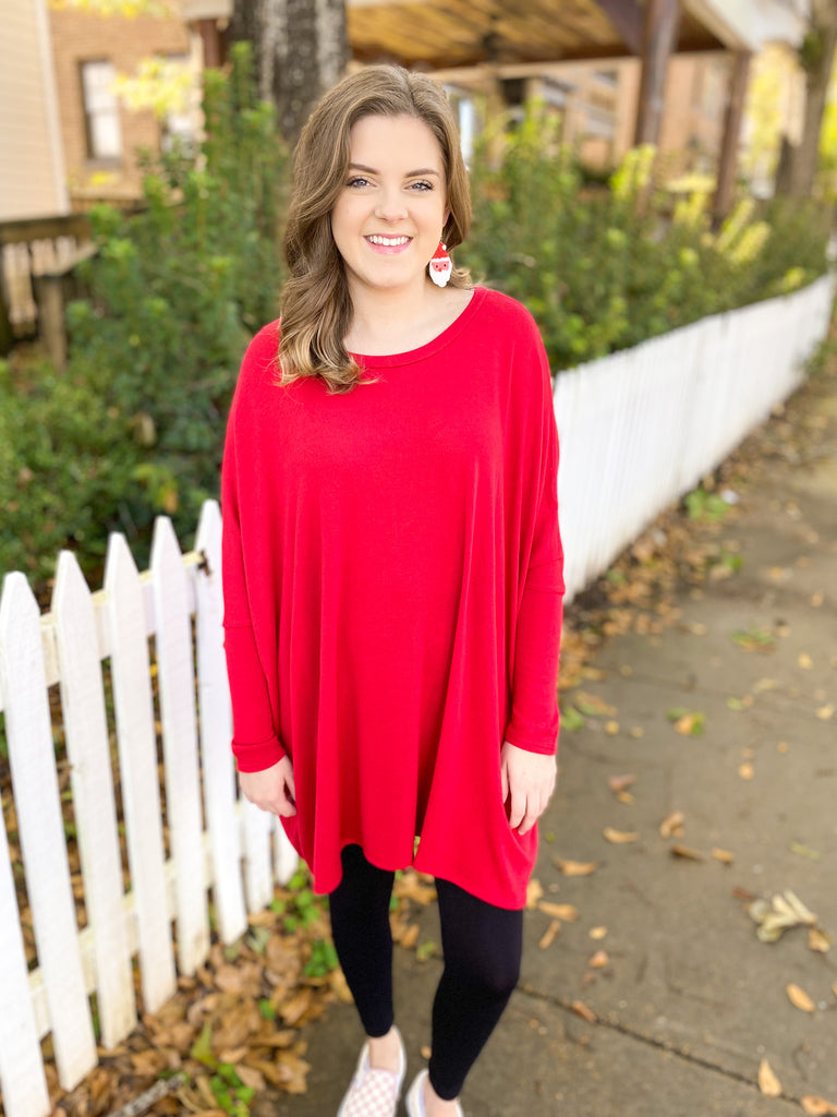 Oversized Poncho Tunic: Dark Red