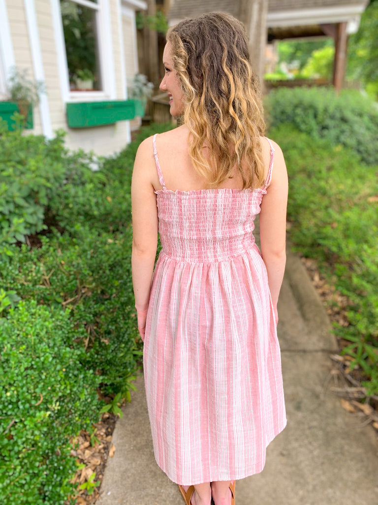 Smocked Button Front Midi Dress