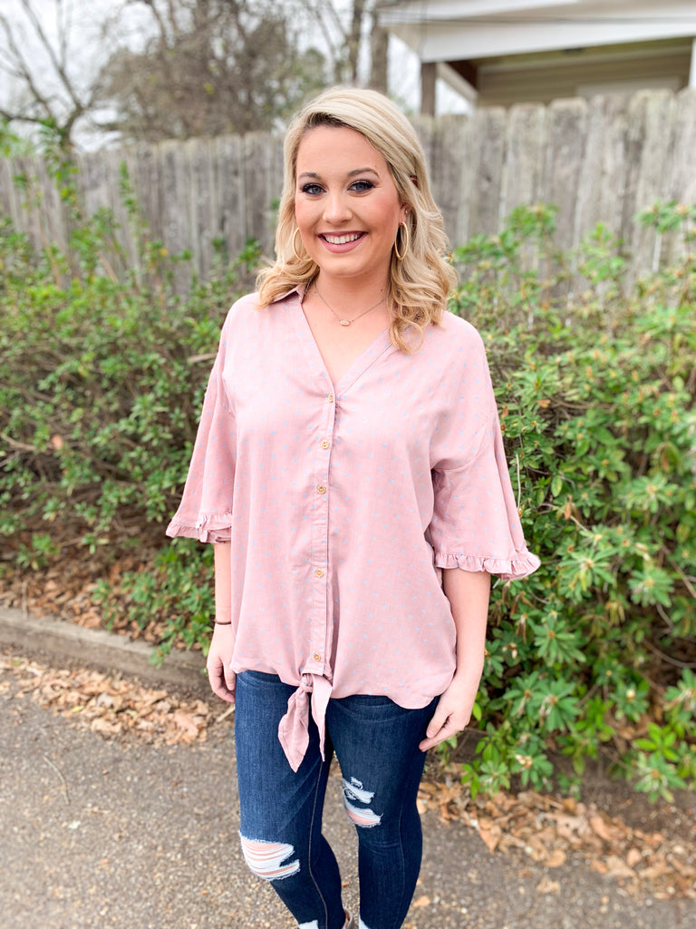 Ruffle Short Sleeve Heart Print Blouse: Rose
