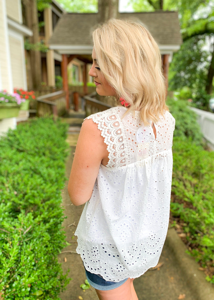 Sleeveless Eyelet Top with Lace Detail: Off White