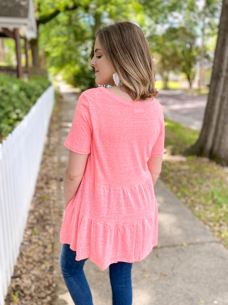Triblend Tiered V-neck Top