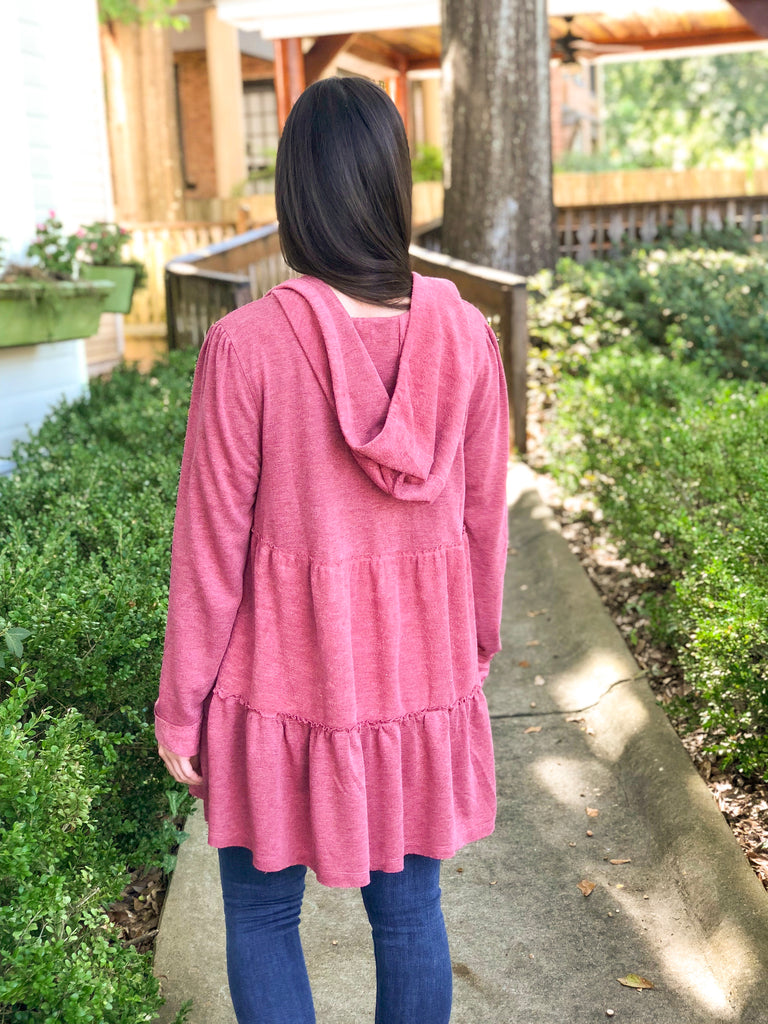 Ruffle Tiered Jacket with Hood: Berry