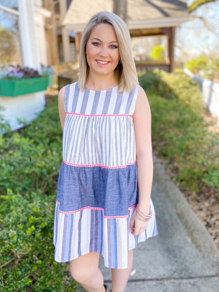 Sleeveless Multi Stripe Dress