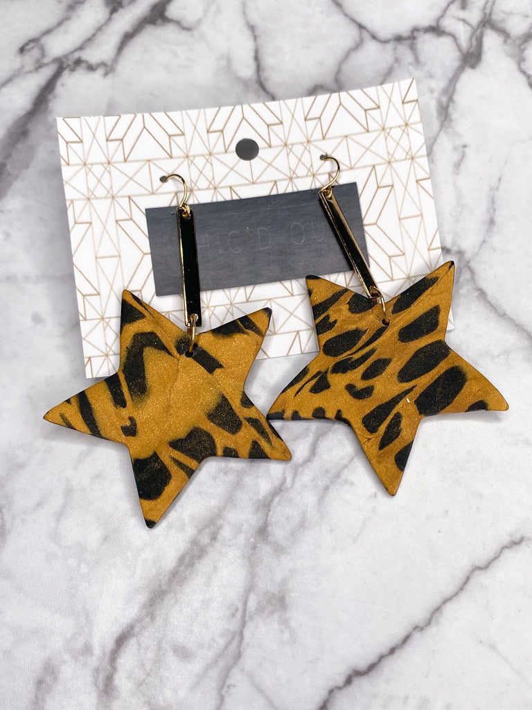 Chic'd Out Earrings: Cheetah Star