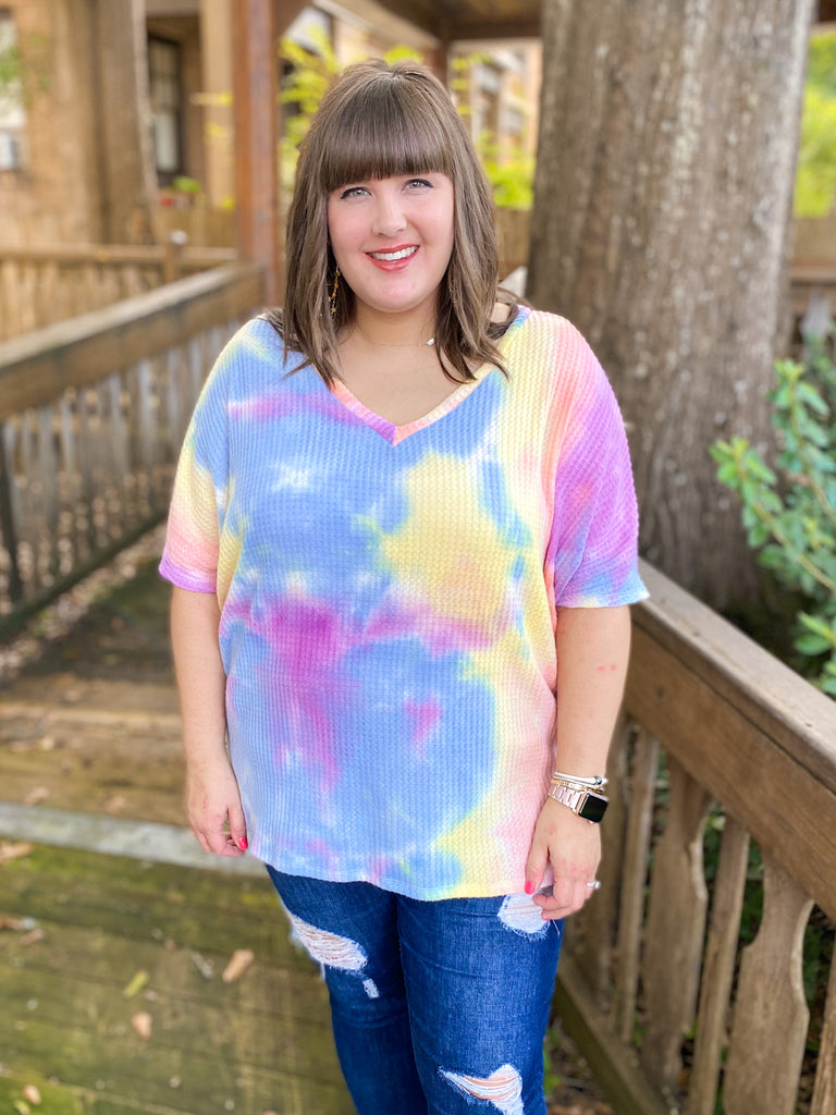 Tie Dye Brushed Waffle Top