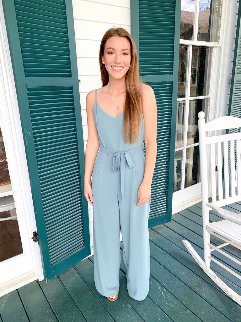 Woven Cami Jumpsuit with Side Slits: Slate