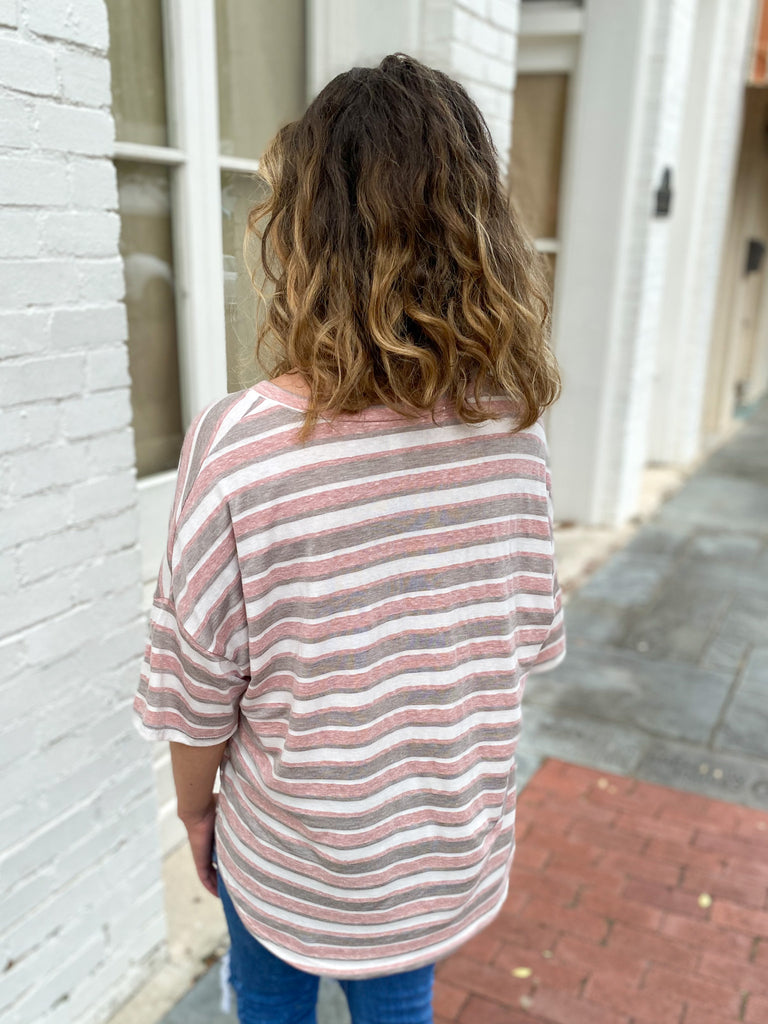 Multi Stripe Rounded Hem Top