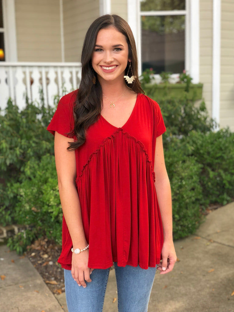 V-neck Top with Ruched Detail: Rust