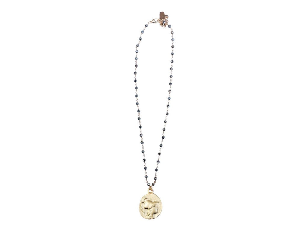 Love Poppy Short Rosary Necklace with Coin
