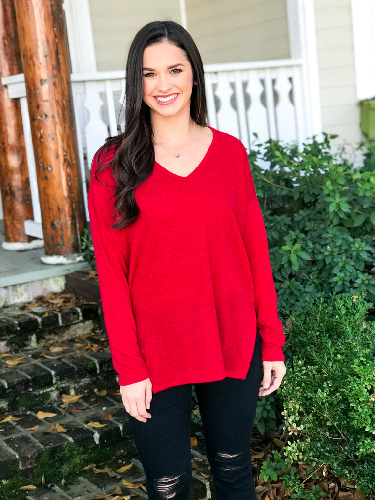 PLC Cozy Nights Sweater: Holiday Red