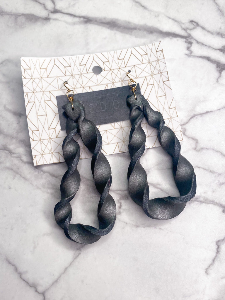 Chic'd Out Earrings: Gunmetal Spiral