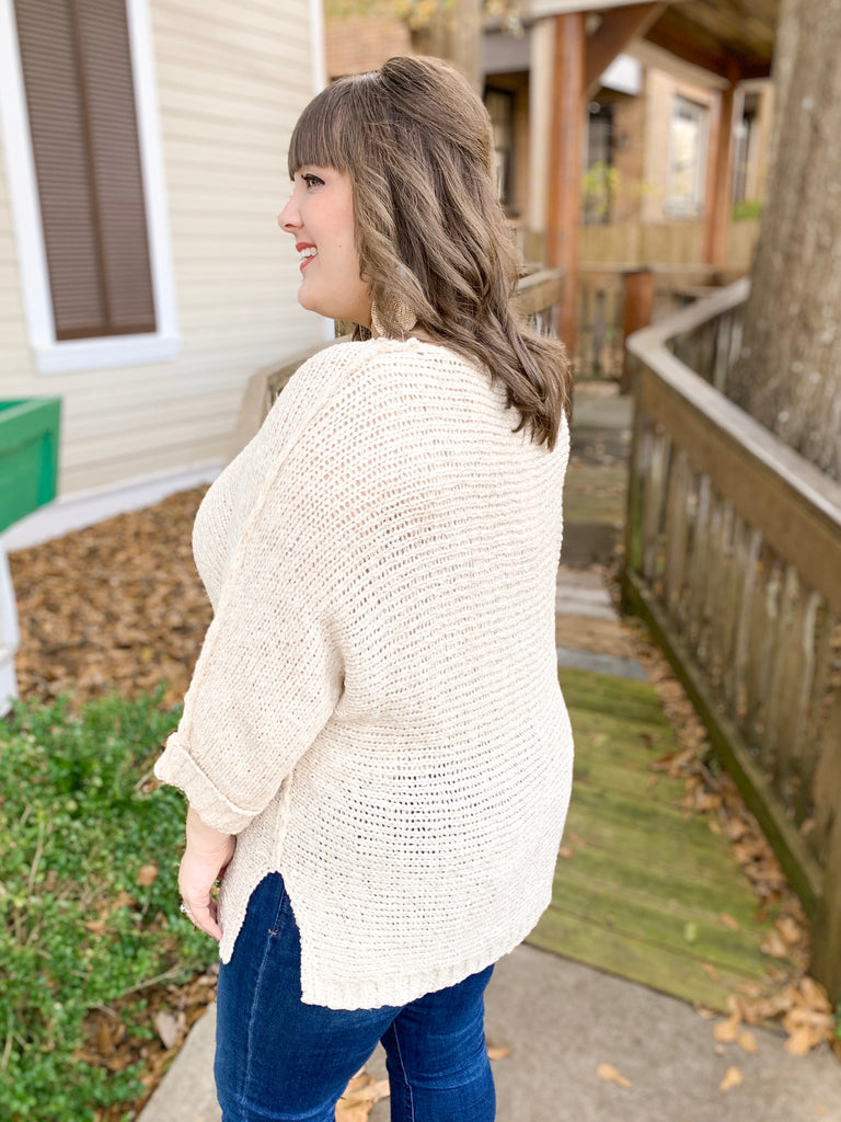 Solid Knit Sweater Top: Oatmeal