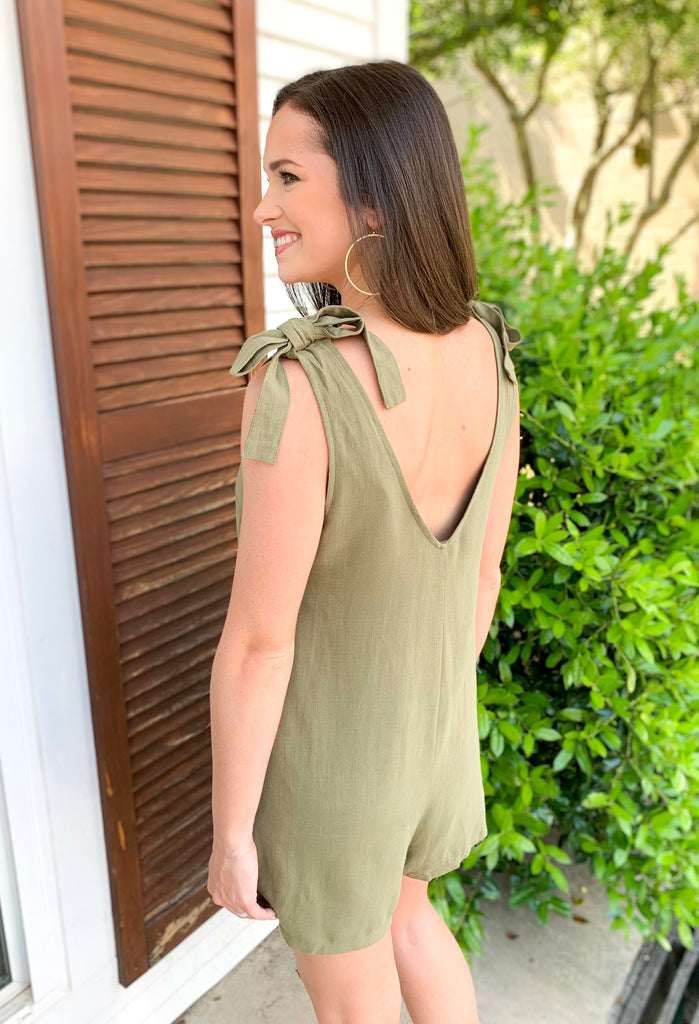 Sleeveless Button Down Romper with Shoulder Tie: Olive